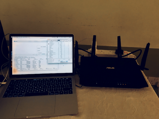 My MacBook Pro serving RStudio to 10 other computers in Ghana, November 2019.