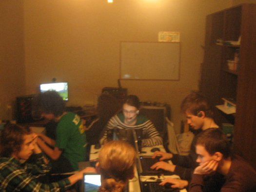 My friends and I having a LAN party in Estonia, 2010. We would mostly play StarCraft or Civilization, or as pictured here - racing games to wind down at the end.