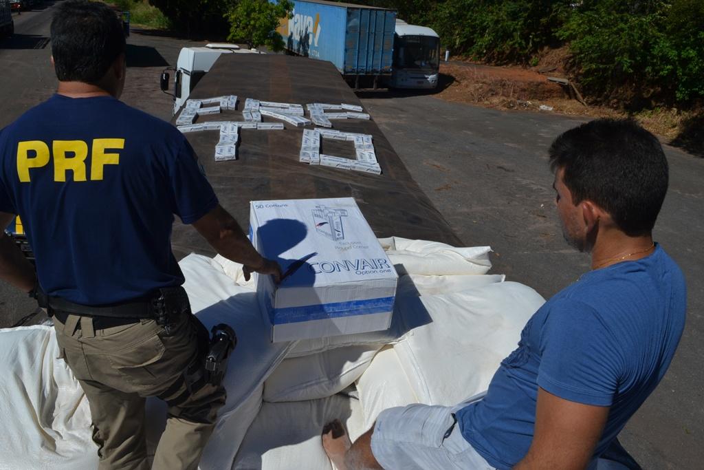 PRF Paraíso realiza uma das maiores apreensão de cigarros contrabandeados na BR-153