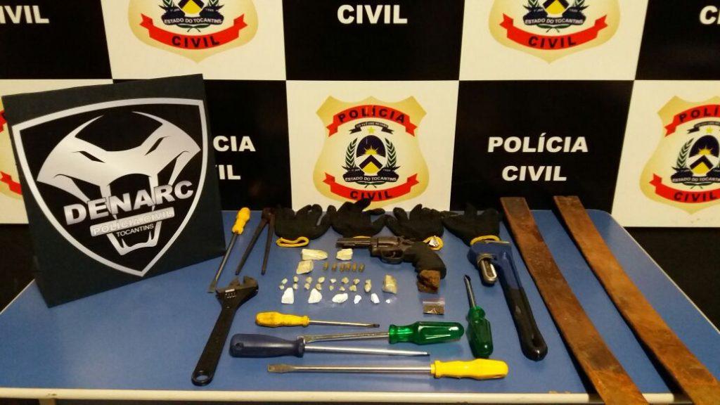 Polícia Civil prende suspeitos por tráfico de drogas e roubo a caixas eletrônicos em Palmas