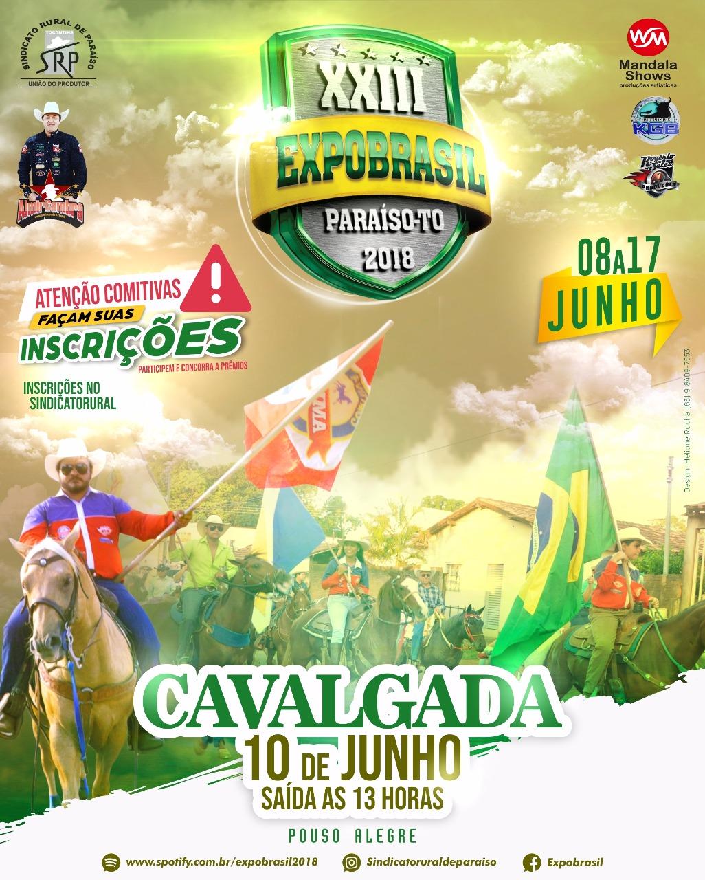 Cavalgada da XXIII Expobrasil em Paraíso acontece no próximo dia 10 de junho