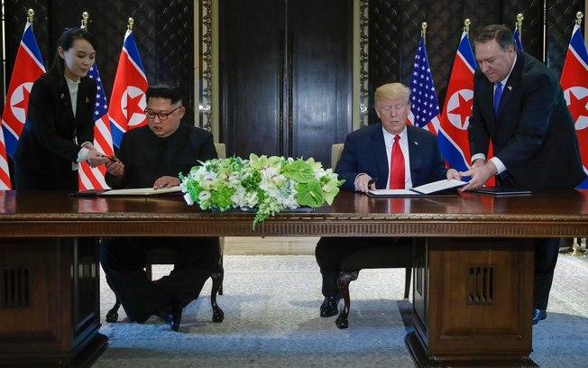 """Encontro do século"" termina com acordo de paz entre Trump e Kim Jong-Un"