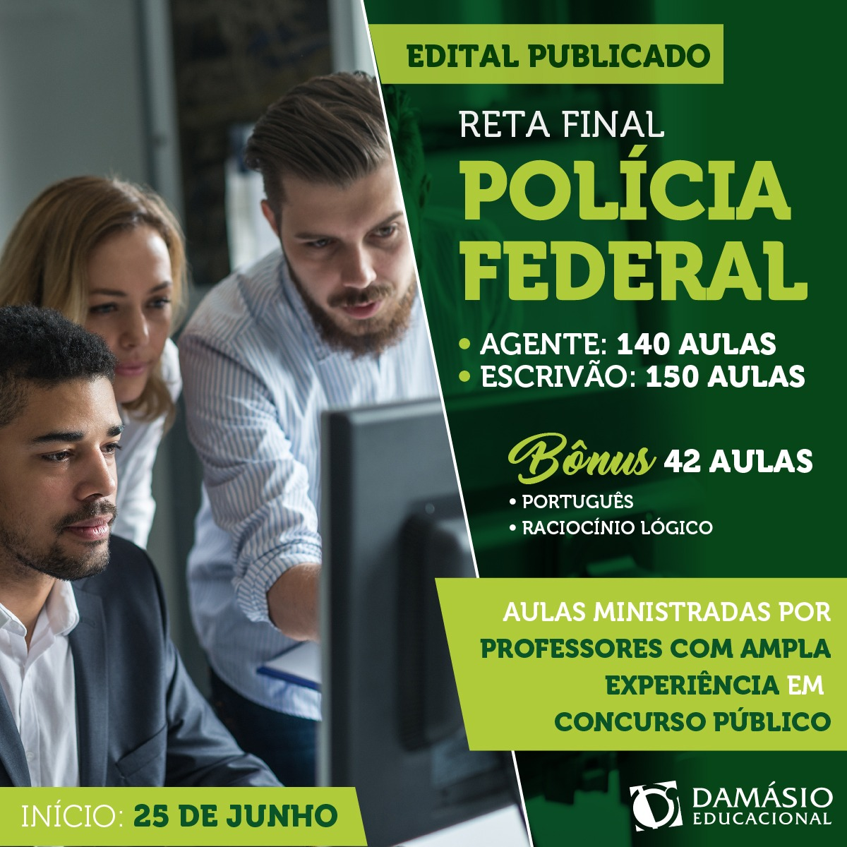Damásio Educacional em Paraíso (TO) tem ofertas de cursos para concurso da PF