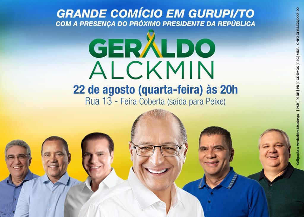 Geraldo Alckmin realiza comício em Gurupi (TO) na próxima quarta-feira, 22
