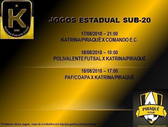 Katrina/Piraquê estreia amanhã no Estadual de Futsal Sub-20
