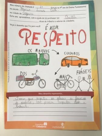 Com entrega de mensagens e desenhos elaborados por estudantes, CCR NovaDutra reforça a importância da Semana Nacional de Trânsito em Arujá e Pindamonhangaba