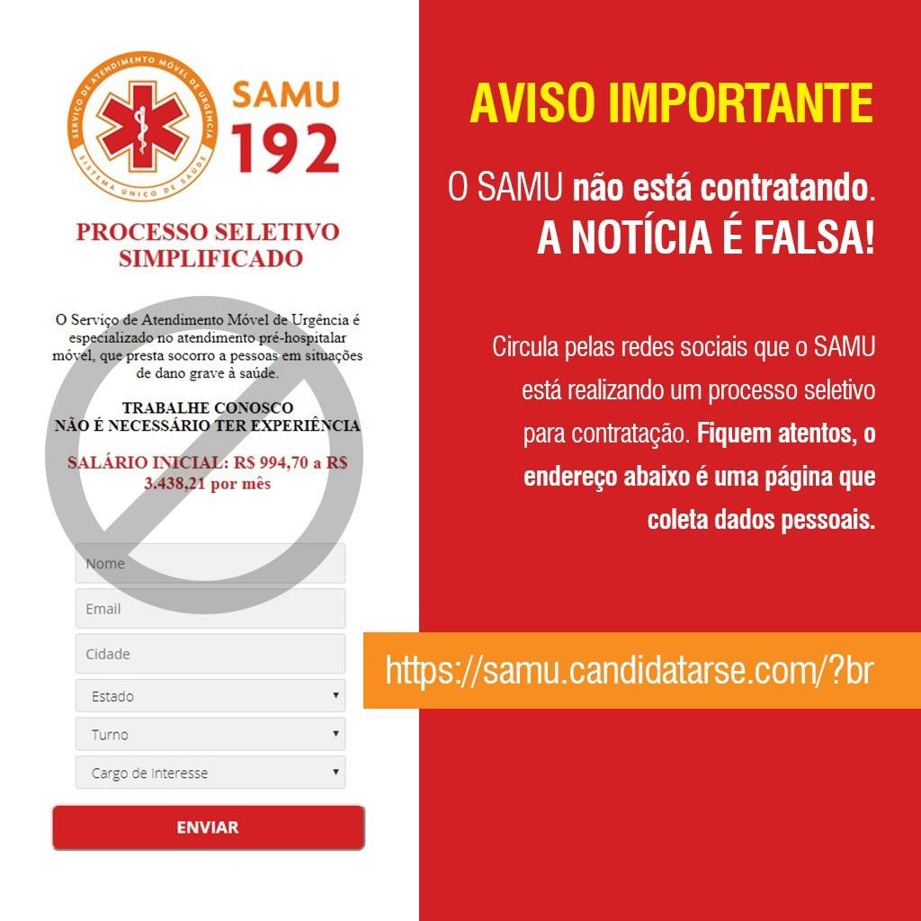 A Prefeitura de Palmas emite nota sobre notícia falsa de contratação para o Samu