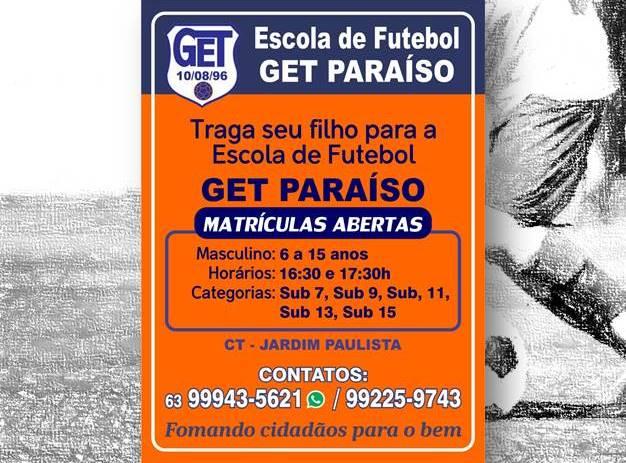 Escola de Futebol GET Paraíso está matriculando novos alunos