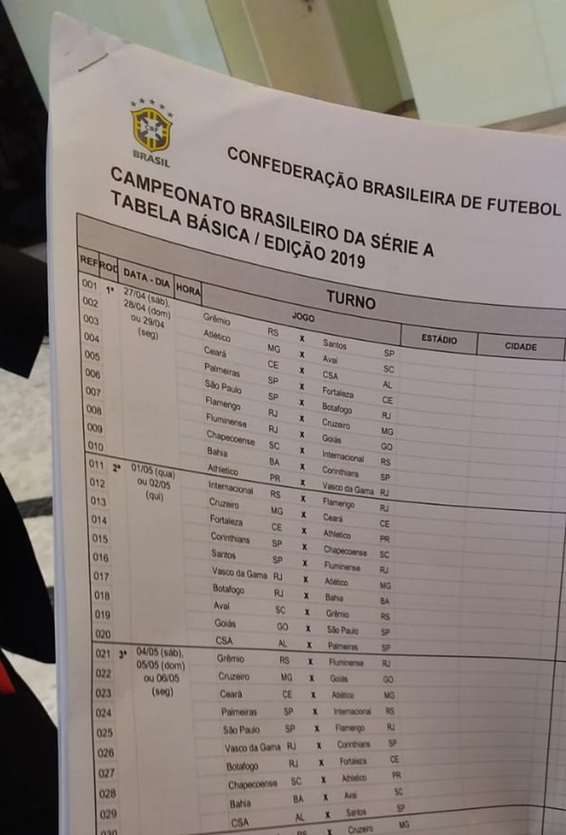 Cbf Divulga Tabela Do Brasileirao 2019 Surgiu