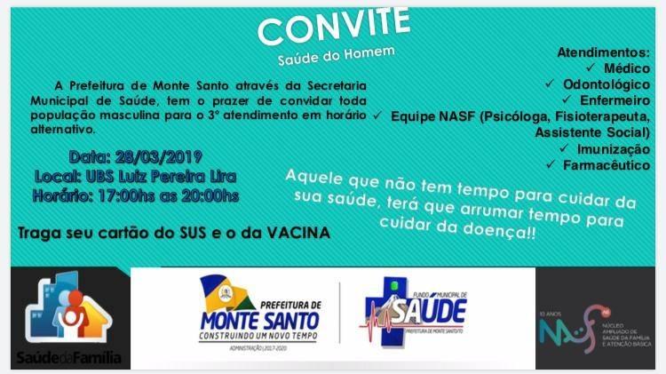 Atendimento em Saúde para homens em horário alternativo acontece no dia 28 de março em Monte Santo