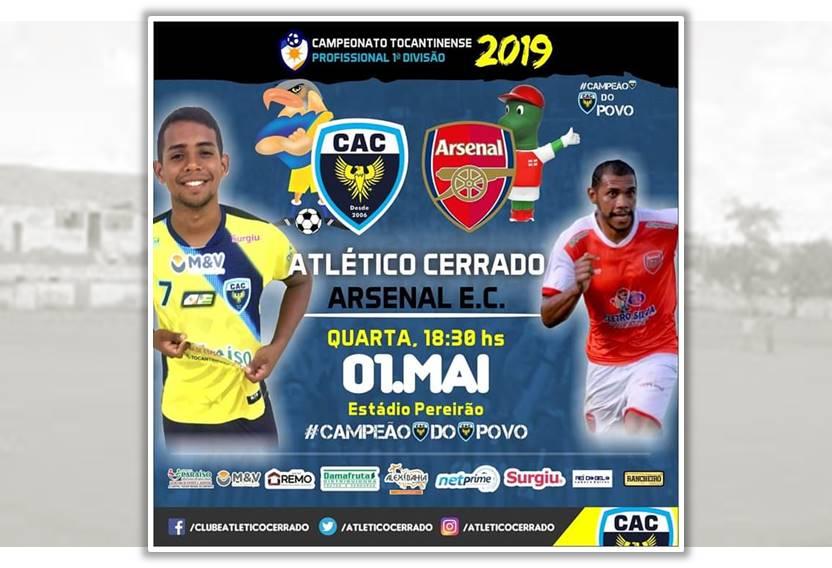 Atlético Cerrado enfrenta o Arsenal nesta quarta (1º) em Paraíso