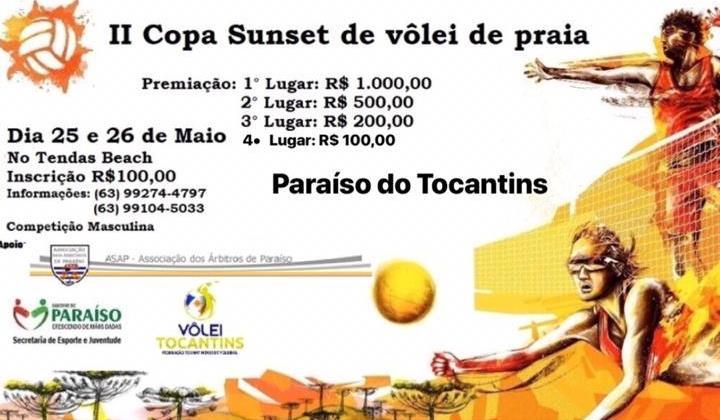 2ª Copa Sunset de Vôlei de Praia acontece nos dias 25 e 26 de maio em Paraíso