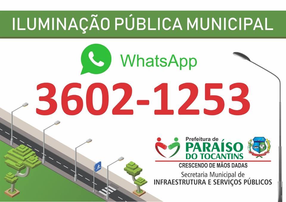 Prefeitura de Paraíso disponibiliza WhatsApp para atender demandas da iluminação pública