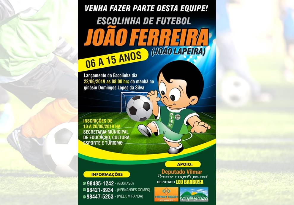 Escolinha de Futebol de Dois Irmãos do Tocantins recebe inscrições de crianças e adolescentes