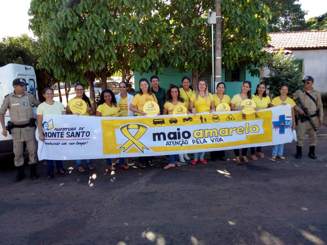 Saúde de Monte Santo e Polícia Militar realizam blitz para conscientizar sobre o trânsito seguro