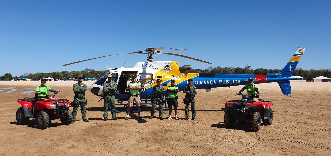Secretaria da Segurança Pública apoia a Polícia Militar e Bombeiros na temporada de praias com o emprego da aeronave do CIOPAER