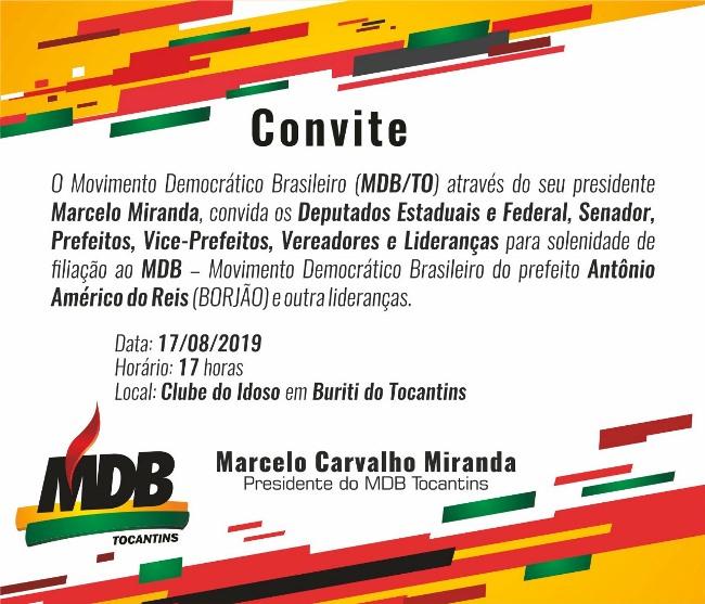 Evento de filiação de prefeito de Buriti do Tocantins ao MDB reunirá importantes lideranças políticas do estado