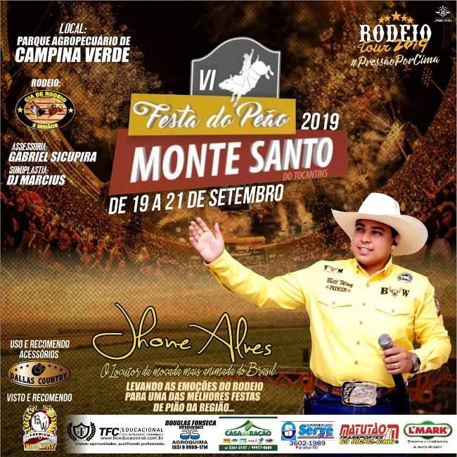 Rodeio da 6ª Festa do Peão de Monte Santo terá locução de Jhone Alves