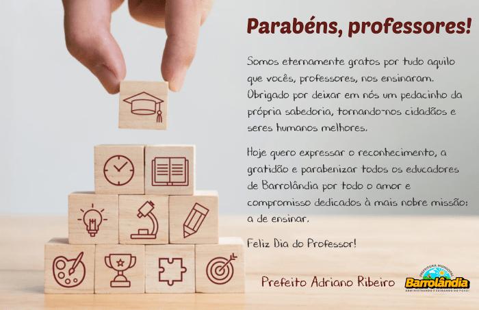Prefeito Adriano Ribeiro parabeniza professores de Barrolândia