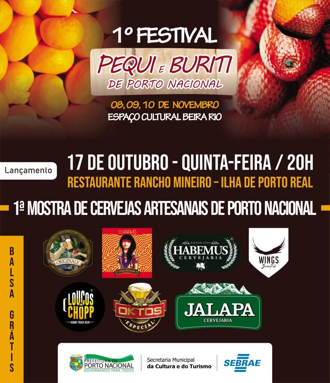 Prefeitura de Porto Nacional lança o 1º Festival do Pequi e Buriti do Tocantins nesta quinta, 17; evento acontece nos dias 8, 9 e 10 de novembro