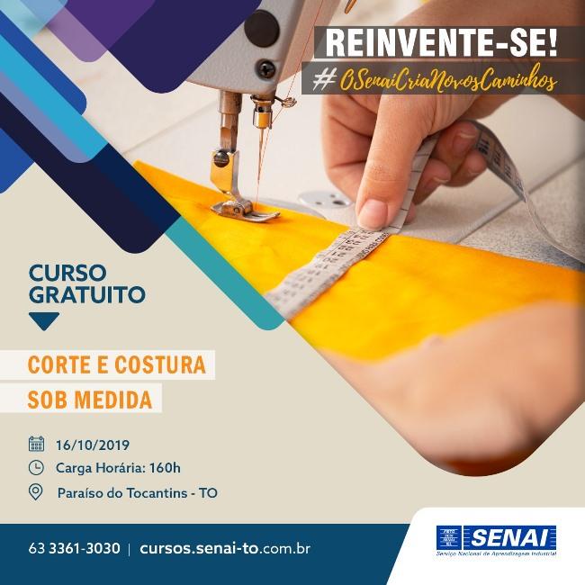 """SENAI Paraíso oferece curso """"Corte e Costura Sob Medida"""" com vagas gratuitas"""
