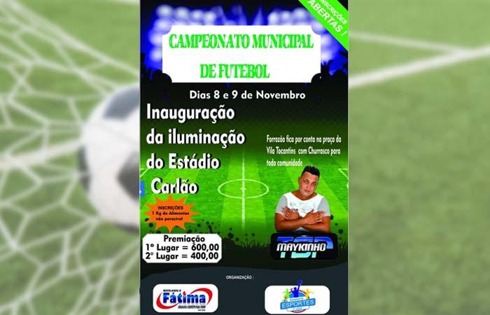Abertas inscrições para o Campeonato Municipal de Futebol de Fátima (TO)