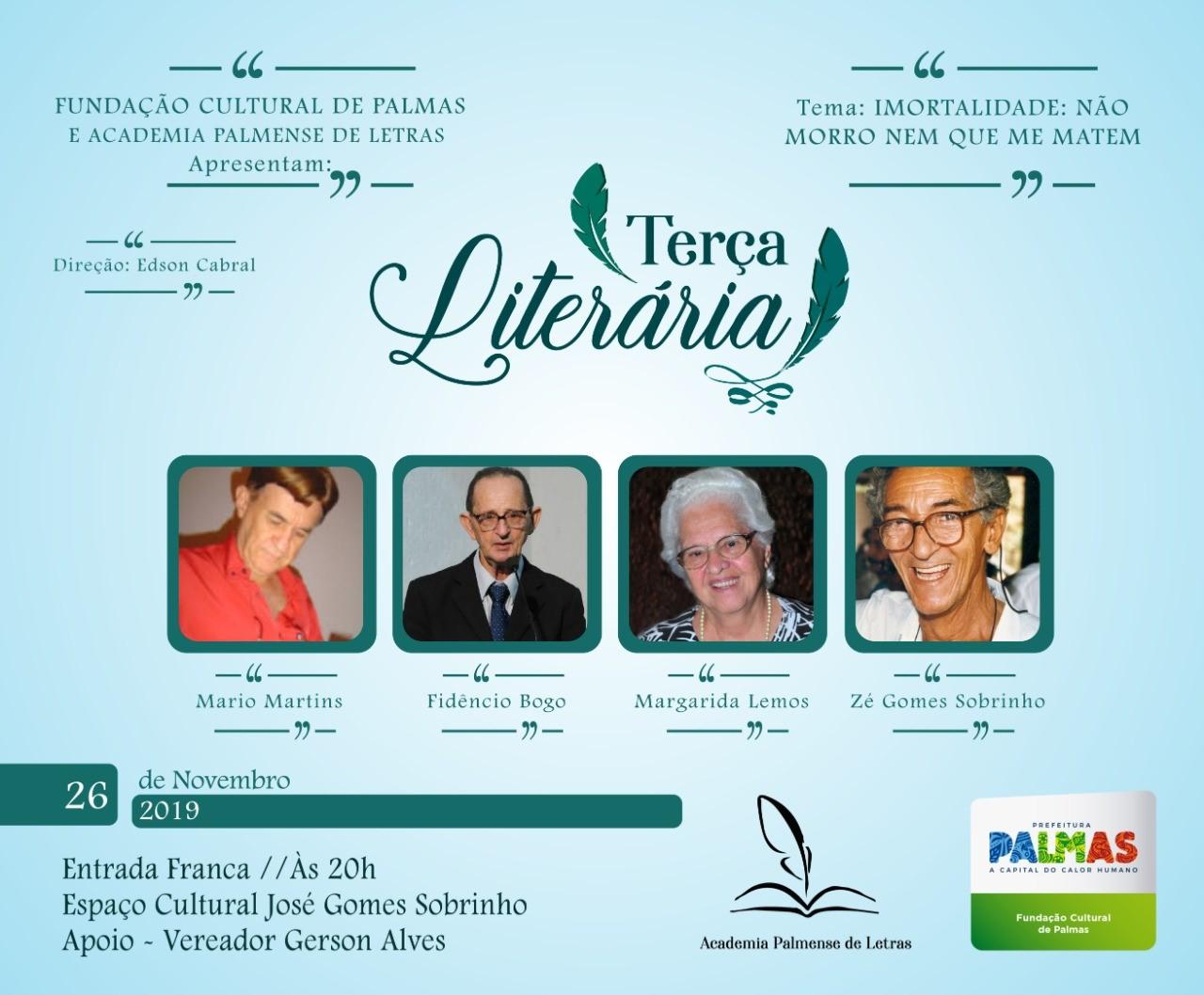 Terça Literária apresenta 'Imortalidade: não morro nem que me matem', com homenagem a José Gomes, Margarida Lemos, Mário Martins e Fidêncio Bogo