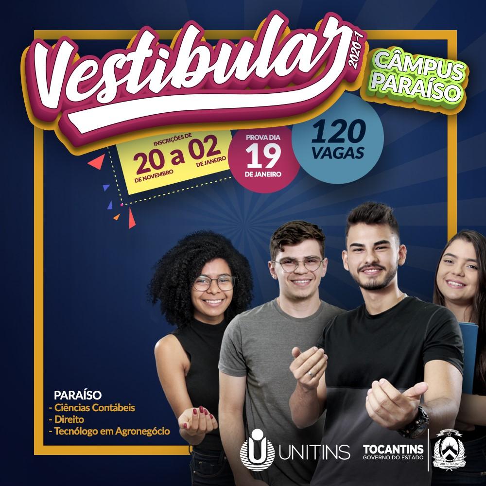 Unitins lança Vestibular para novo Câmpus de Paraíso