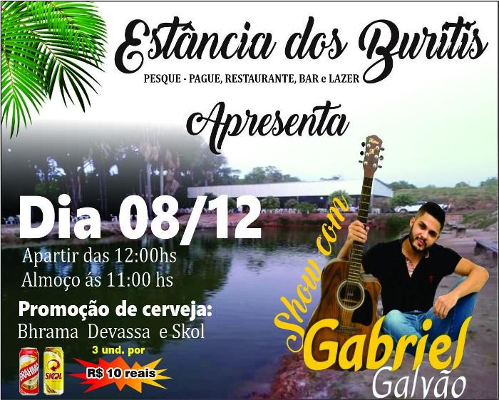 Estância dos Buritis terá almoço com música ao vivo no próximo domingo (8) em Paraíso