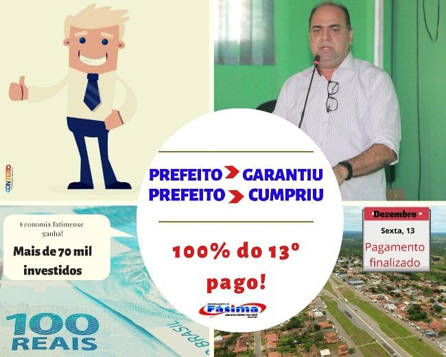 Prefeitura de Fátima realiza pagamento integral do 13º salário aos servidores públicos municipais