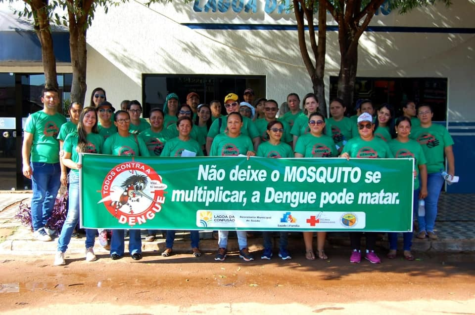 Servidores municipais da Saúde de Lagoa da Confusão participam de passeata contra a dengue