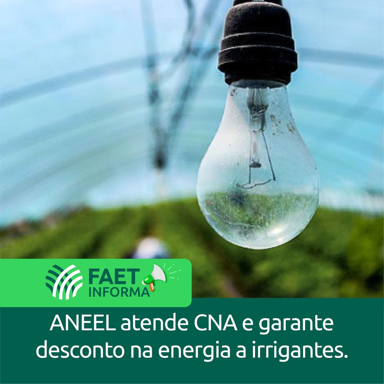Aneel atende CNA e garante desconto na energia a irrigantes