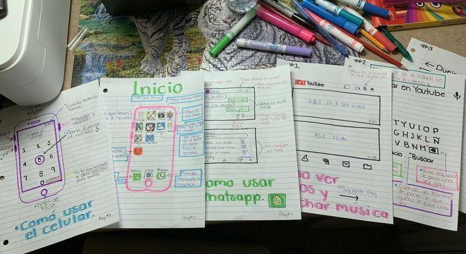 Menina desenha guia para avó aprender a usar celular e viraliza