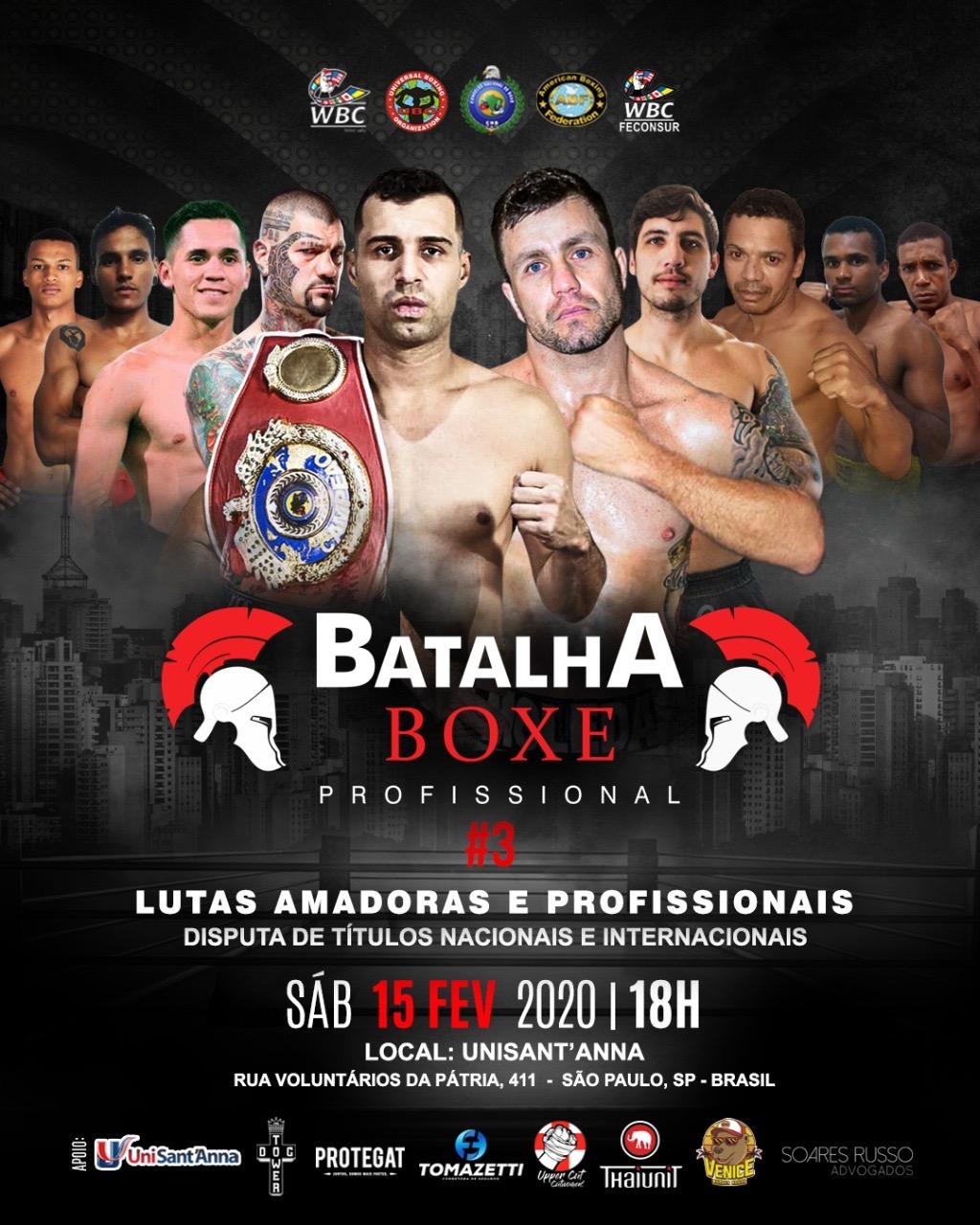 Batalha Boxe Profissional tem disputa de títulos nacionais e internacionais no dia 15 em São Paulo