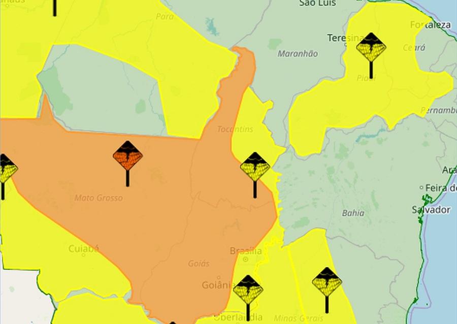 Inmet alerta para chuvas com ventos fortes em várias regiões do Tocantins