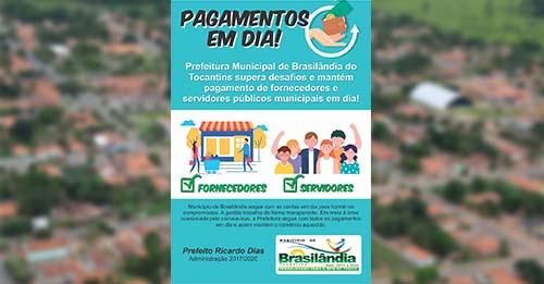Em meio à crise da Covid-19, Prefeitura de Brasilândia (TO) mantém em dia pagamento de servidores e fornecedores