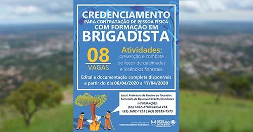Prefeitura de Paraíso abre 8 vagas para credenciamento de brigadistas