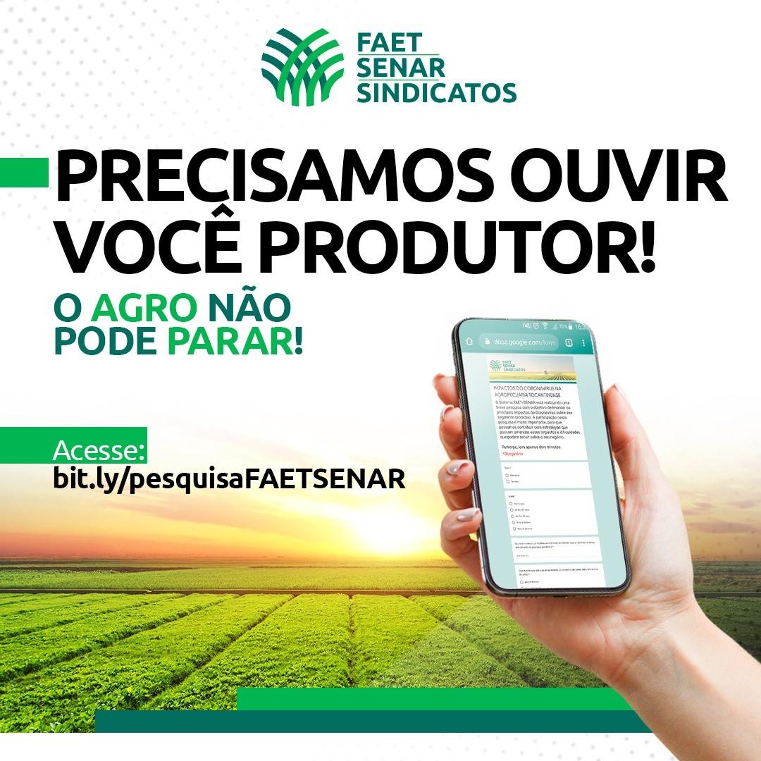 Sistema FAET/SENAR aplica questionário sobre os impactos do covid-19 na agropecuária do Tocantins