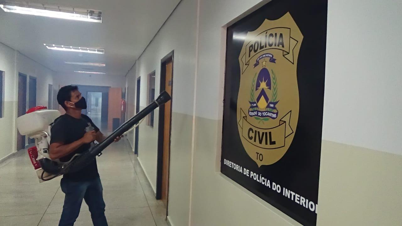 Sede da Segurança Pública na Capital passa por limpeza preventiva da Covid-19
