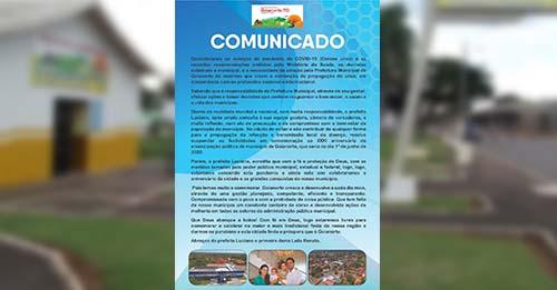 Prefeitura de Goianorte cancela festividades do 31º aniversário do município