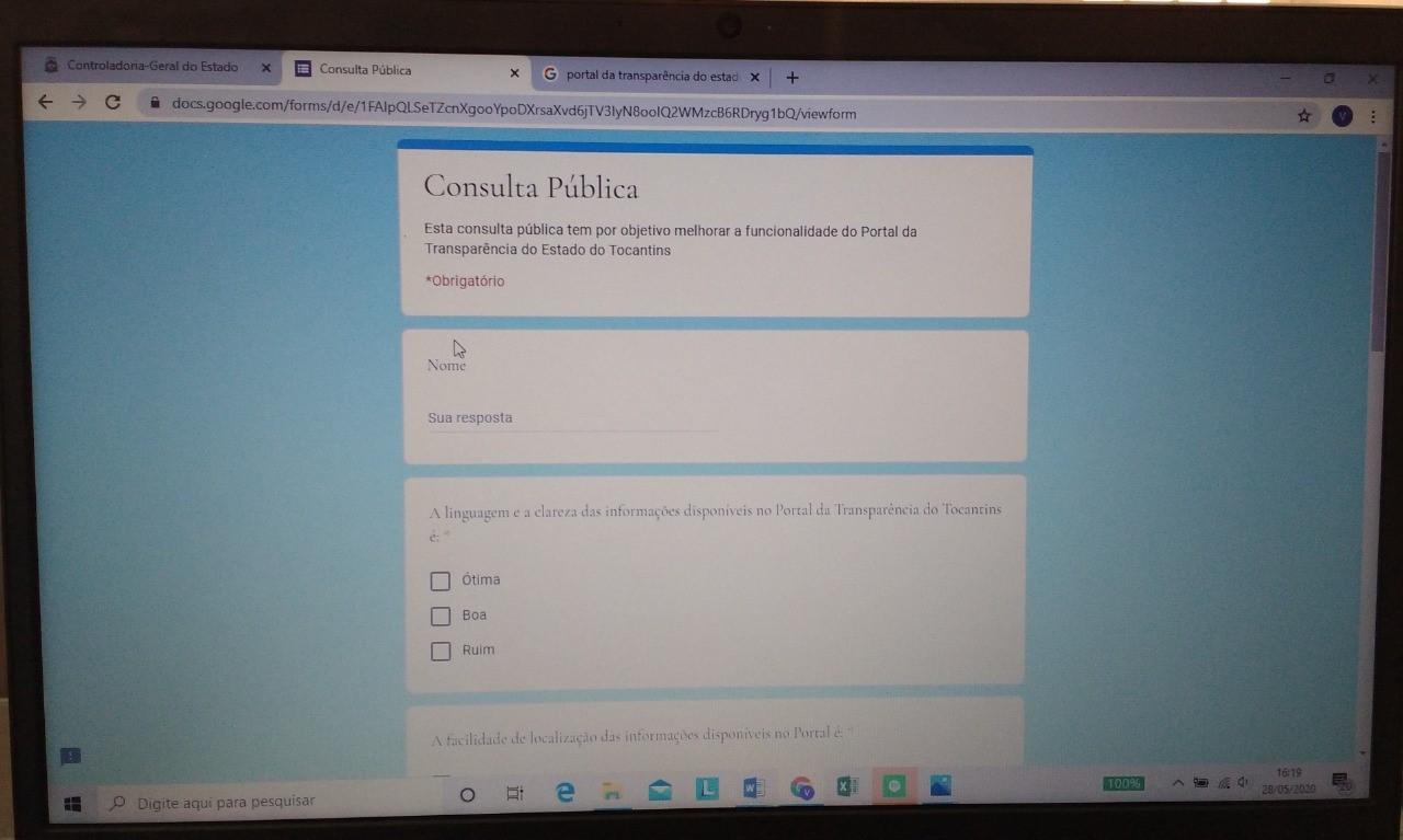 Consulta pública sobre o Portal da Transparência continua até 15 de junho