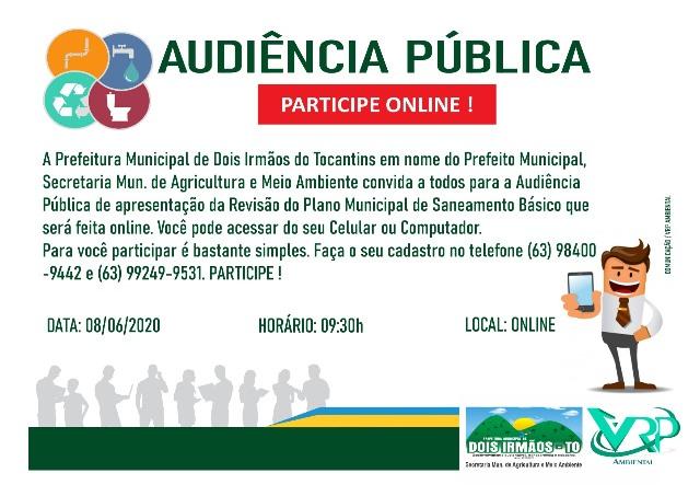 Prefeitura de Dois Irmãos fará audiência pública para revisão do Plano Municipal de Saneamento Básico