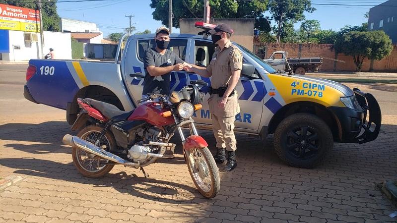 Policia Militar de Lagoa da Confusão recupera veículo e restitui ao proprietário