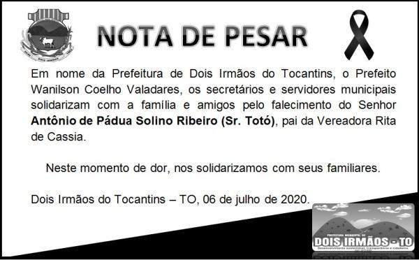 Prefeito de Dois Irmãos publica nota de pesar pelo falecimento de Antônio de Paula Solino Ribeiro