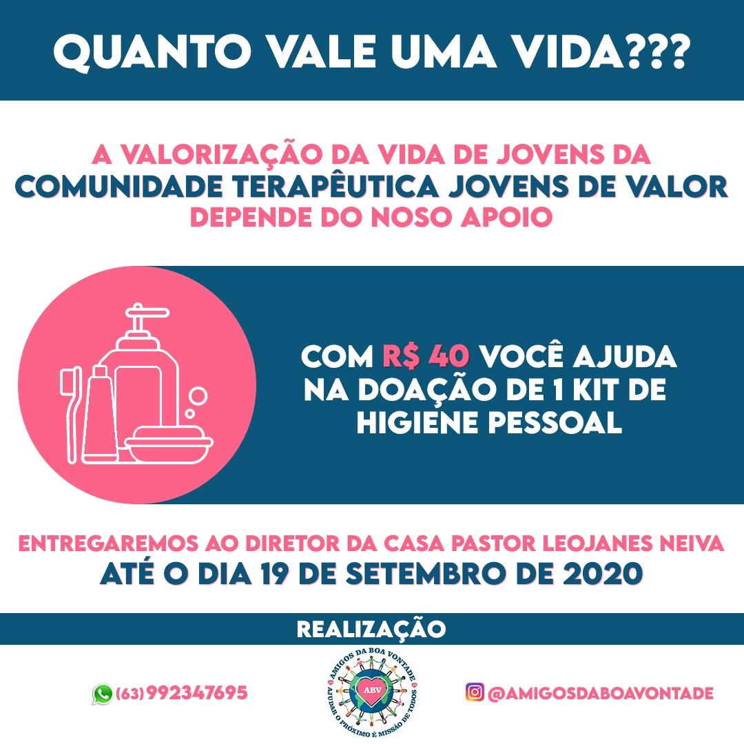 Projeto Amigos da Boa Vontade realiza campanha em prol da Comunidade Terapêutica Jovens de Valor, em Paraíso