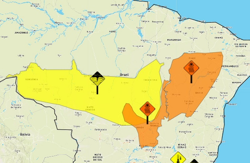 Instituto de meteorologia emite alerta de chuvas intensas para o Tocantins