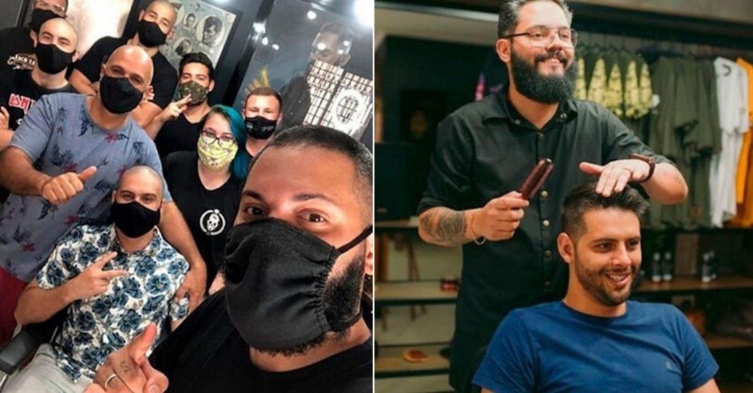 Barbeiros emocionam ao raspar cabelo para apoiar cliente que começará quimioterapia; assista