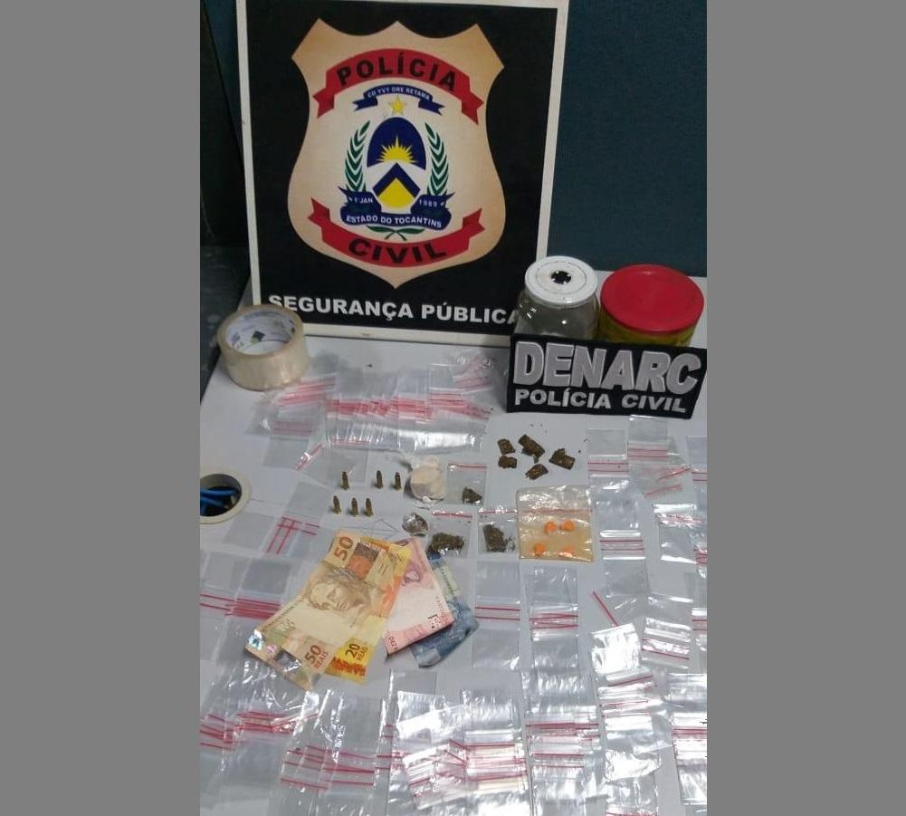 Ponto de venda de drogas é fechado em Araguaína e traficante é preso pela Polícia Civil