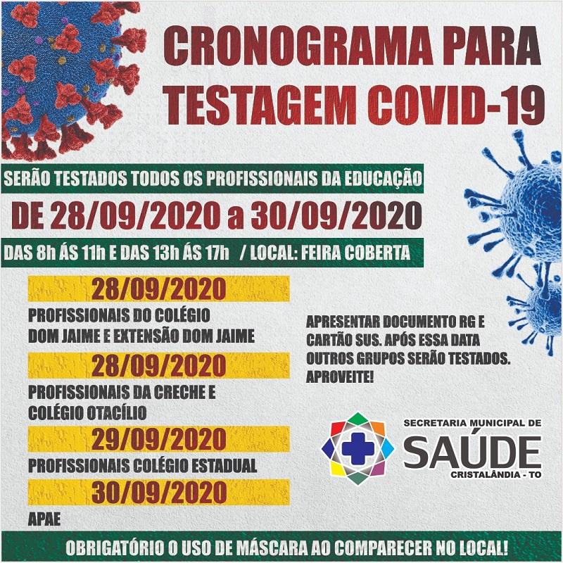 Covid-19: Secretaria de Saúde de Cristalândia informa cronograma para testagem da população