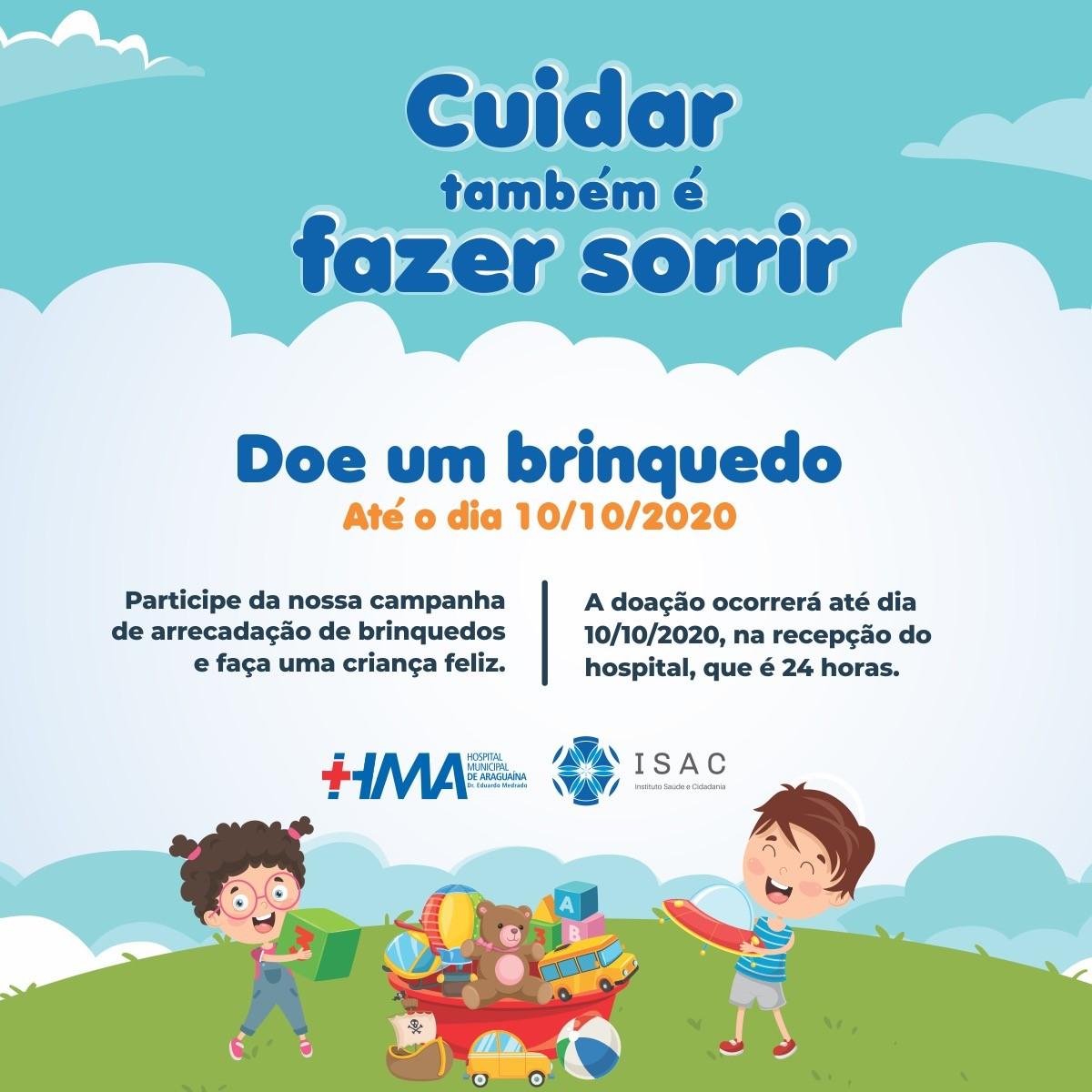 Hospital Municipal de Araguaína lança campanha de arrecadação de brinquedos para Dia das Crianças